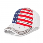 FH066 American Flag Pattern w/Rhinestone Edge Baseball Cap, White